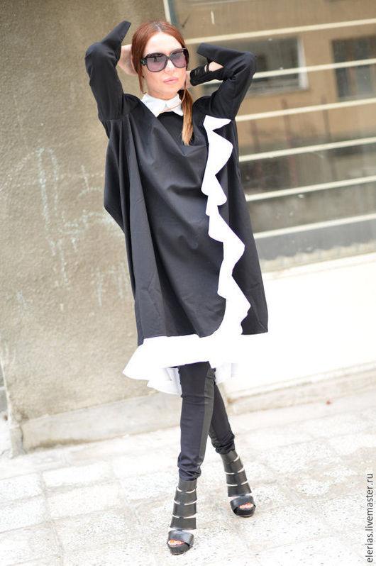 Стильное платье-туника. Дизайнерское платье. Платье. Поливискоза.