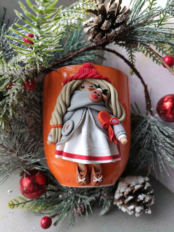 Кружка с куколкой  из полимерной глины, Кружки, Санкт-Петербург,  Фото №1