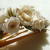 Украшения ручной работы. Ярмарка Мастеров - ручная работа Заколка-зажим(боковой краб) с розами. Handmade.