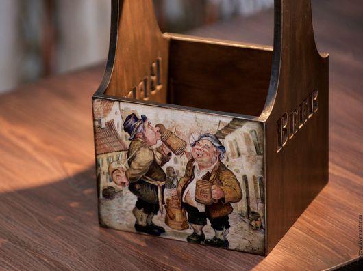 Персональные подарки ручной работы. Ярмарка Мастеров - ручная работа. Купить Короб-переноска для пива. Handmade. Коричневый, лак