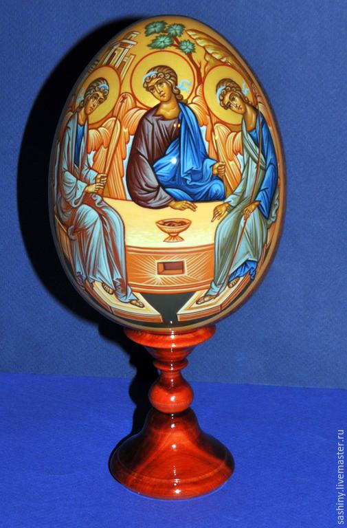 Яйца ручной работы. Ярмарка Мастеров - ручная работа. Купить Пасхальное яйцо Троица ручная роспись. Handmade. Пасхальное яйцо