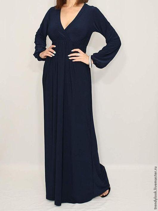 Платья ручной работы. Ярмарка Мастеров - ручная работа. Купить Темно-синее платье в пол платье с длинным рукавом. Handmade.