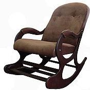 Для дома и интерьера ручной работы. Ярмарка Мастеров - ручная работа Кресло-качалка «Люкс с подножкой», коричневый флок. Handmade.