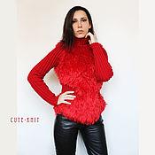 Одежда handmade. Livemaster - original item Red sweater women`s. Handmade.
