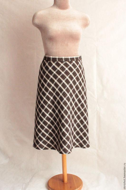 Юбки ручной работы. Ярмарка Мастеров - ручная работа. Купить юбка шерстянная  клетка с люрексом. Handmade. В клеточку