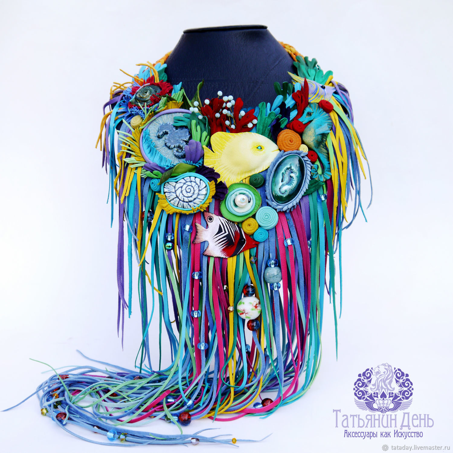 'Rainbow reef' necklace made of leather and ceramics, Necklace, St. Petersburg,  Фото №1