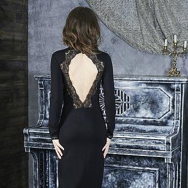 Одежда ручной работы. Ярмарка Мастеров - ручная работа 089: 42 размер - черное платье с открытой спиной. Handmade.