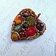 Bright autumn brooch autumn accessory. Brooch of handwork of stones and beads. Brooch - leaf. The brooch on the coat, the brooch on the dress, the brooch on the sweater, the brooch on the tippet, scar