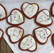 """Набор пряников ручной работы. Ярмарка Мастеров - ручная работа Сердце - сердечко для любимых """"Пряничный белый зайка"""". Handmade."""