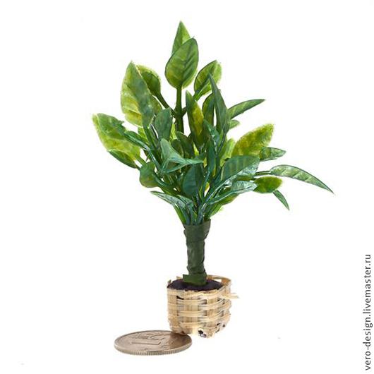 Куклы и игрушки ручной работы. Ярмарка Мастеров - ручная работа. Купить Миниатюра Растение в горшке зеленое высота 7,5 см. Handmade.