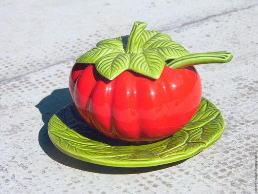 """Винтажная посуда. Ярмарка Мастеров - ручная работа. Купить керамический соусник """"Помидор"""". Handmade. Ярко-красный, керамический соусник"""