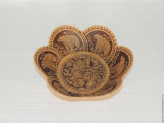 """Кухня ручной работы. Ярмарка Мастеров - ручная работа. Купить Тарелка """"Мишутка"""". Handmade. Изделия из бересты, тарелки ручной работы"""