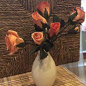Цветы и флористика ручной работы. Ярмарка Мастеров - ручная работа Букетик роз в маленькой вазе, Инерьерная композиция. Handmade.