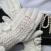 Аксессуары ручной работы. Ярмарка Мастеров - ручная работа Перчатки  Волна   белые ангора, ажурные перчатки. Handmade.