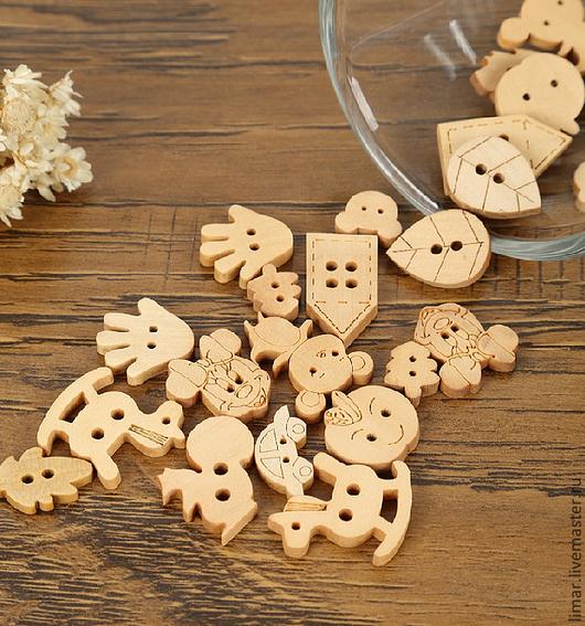 Шитье ручной работы. Ярмарка Мастеров - ручная работа. Купить Пуговицы деревянные, 13 форм. Handmade. Пуговицы, фурнитура