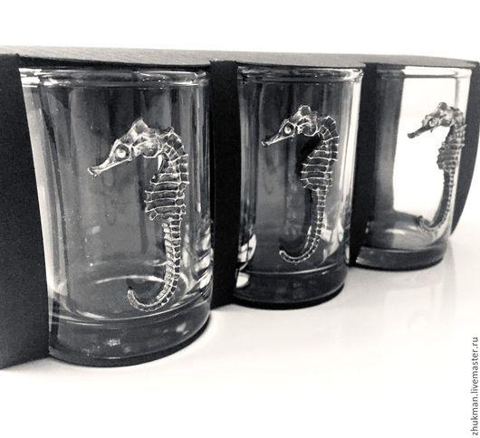 """Подарки для мужчин, ручной работы. Ярмарка Мастеров - ручная работа. Купить Набор стопок на троих  """"Морской конёк"""" (3 стопки/рюмки). Handmade."""