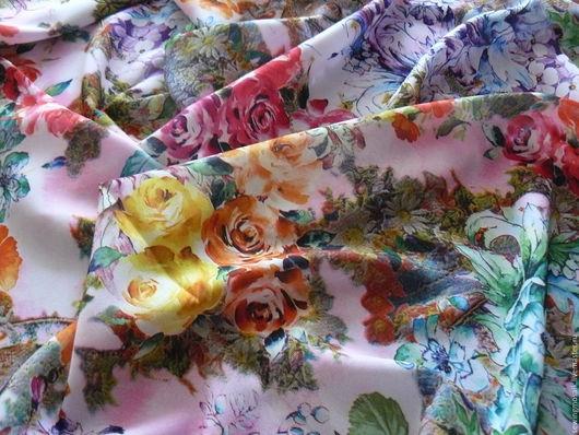 Шитье ручной работы. Ярмарка Мастеров - ручная работа. Купить Ткань плательно-блузочная с цветочным принтом отрез 2,5м. Handmade.