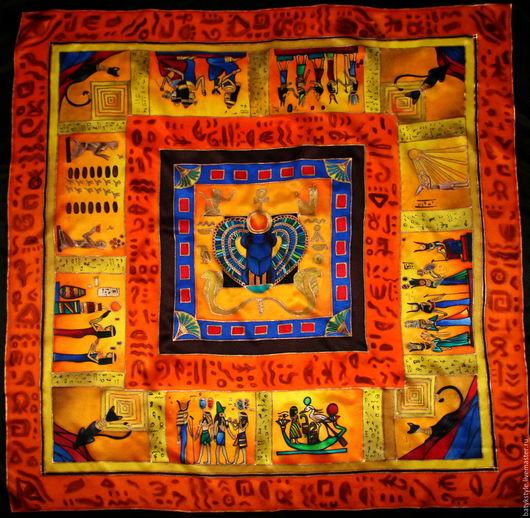 """Шали, палантины ручной работы. Ярмарка Мастеров - ручная работа. Купить Шелковый платок батик """"Египет"""". Handmade. Разноцветный, золото"""