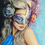 Картины ручной работы. Ярмарка Мастеров - ручная работа Таинственная блондинка в маске. Handmade.