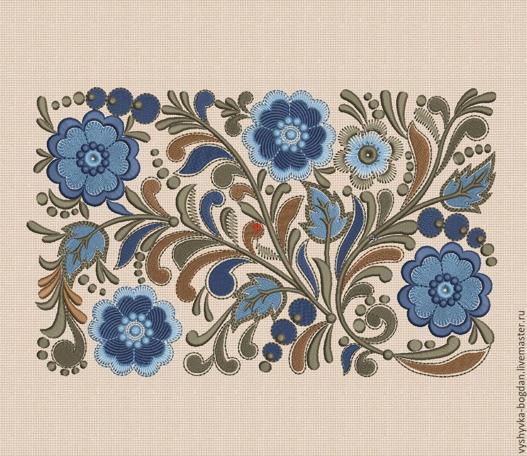 Machine embroidery design is made in folk style. Excellent quality of designs. The large design is divided into three parts for small hoop 13 x 18 cm. There are different design formats in the folder