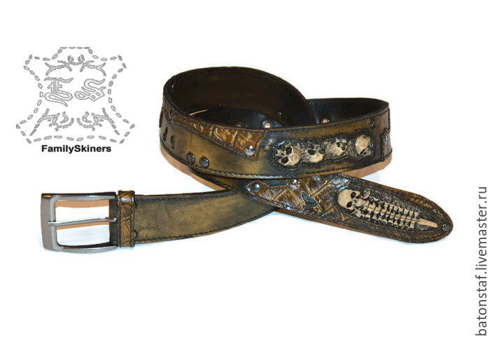 Strap leather handmade skull - Steampunk, Straps, Moscow,  Фото №1