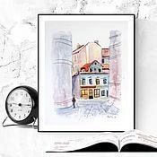 Картины и панно handmade. Livemaster - original item Urban landscape watercolor Prague. Handmade.