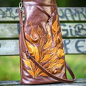 Сумки и аксессуары handmade. Livemaster - original item Leather bag with brown colors, boho bag. Handmade.