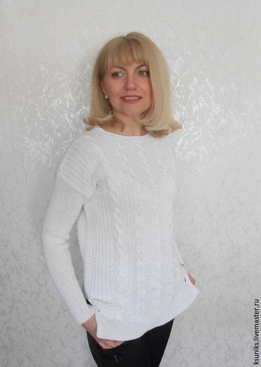 Кофты и свитера ручной работы. Ярмарка Мастеров - ручная работа. Купить Джемпер вязаный белый. Handmade. Пуловер вязаный