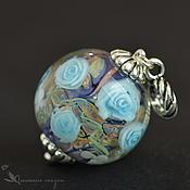 Украшения handmade. Livemaster - original item Pendant Garden of dreams lampwork glass blue rose purple. Handmade.