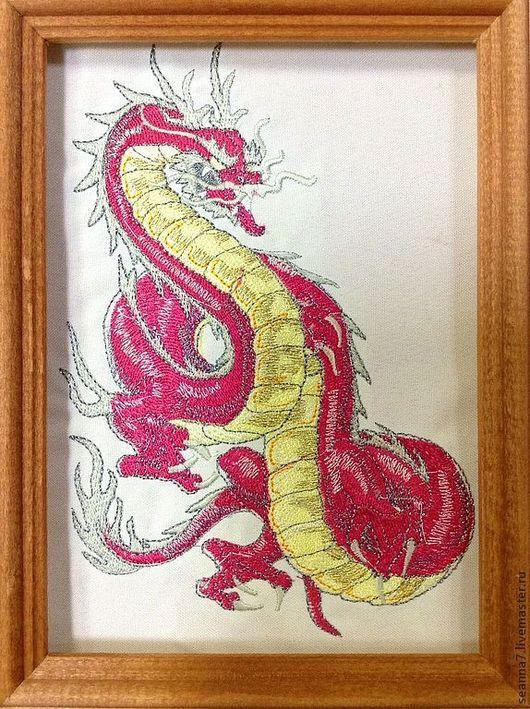 """Животные ручной работы. Ярмарка Мастеров - ручная работа. Купить Вышитая картинка, картина, панно """"Восточный дракон"""". Handmade. Картина"""