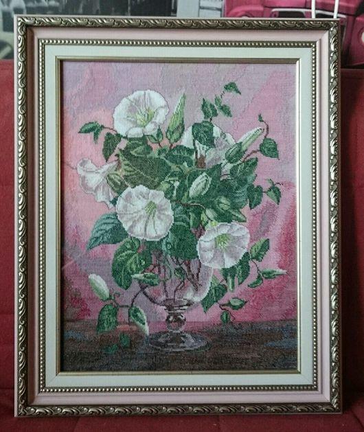 """Картины цветов ручной работы. Ярмарка Мастеров - ручная работа. Купить Вышитая картина """"Вьюнок"""".. Handmade. Вышитая картина крестиком"""