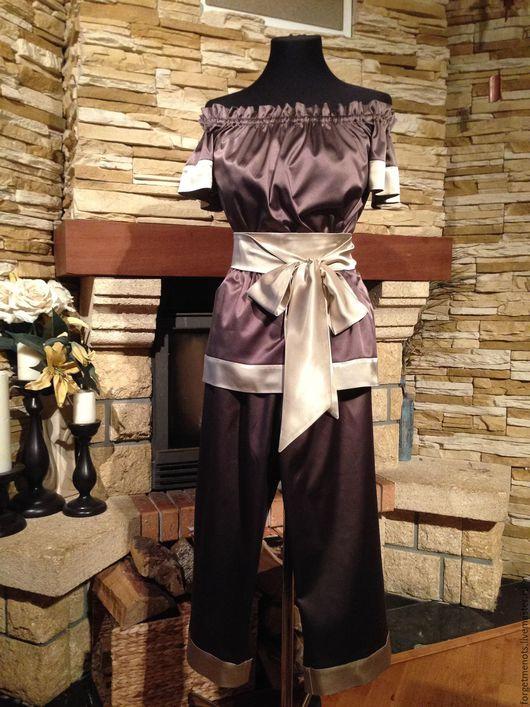 """Белье ручной работы. Ярмарка Мастеров - ручная работа. Купить Комплект домашней одежды """"Шоколадное удовольствие"""". Handmade. Коричневый"""