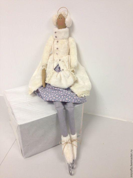 Куклы Тильды ручной работы. Ярмарка Мастеров - ручная работа. Купить Ангел на коньках. Handmade. Серый, подарок, плюш