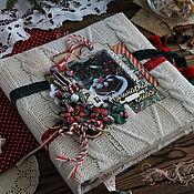 """Книги для рецептов ручной работы. Ярмарка Мастеров - ручная работа Книга рецептов """"Зимняя сказка""""  бежевый красный новый год. Handmade."""