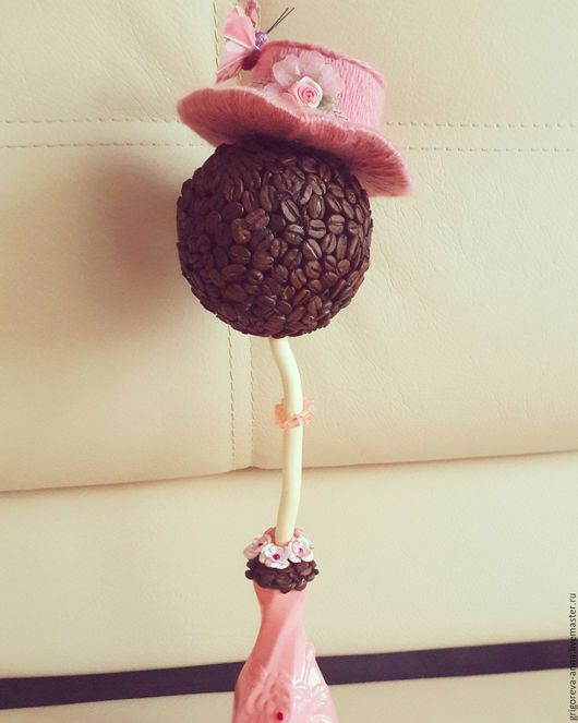"""Топиарии ручной работы. Ярмарка Мастеров - ручная работа. Купить Кофейное деревце """"Дама в розовом""""!!!. Handmade. Бледно-розовый"""
