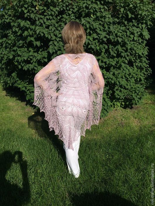 Шали, палантины ручной работы. Ярмарка Мастеров - ручная работа. Купить Шелковая ажурная шаль Рапcодия  большого размера. Handmade.