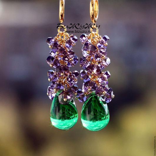 """Серьги ручной работы. Ярмарка Мастеров - ручная работа. Купить Серьги """"Emerald"""". Handmade. Серьги, серьги из стекла, зеленые серьги"""