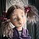 Коллекционные куклы ручной работы. Ярмарка Мастеров - ручная работа. Купить Одна дома. Handmade. Тёмно-синий, трессы