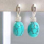 Украшения handmade. Livemaster - original item Turquoise earrings English lock silver - earrings bright. Handmade.