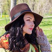 Аксессуары handmade. Livemaster - original item Chocolate Fedora hat with medium brim. Handmade.
