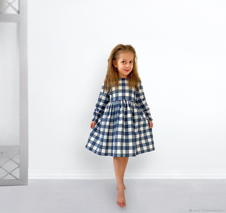 """Платье """"Модная синяя клетка"""", хлопок, Платье, Самара,  Фото №1"""