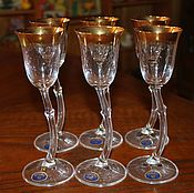 Винтаж handmade. Livemaster - original item Beautiful set of wine glasses on a high leg with gold trim, Bohemia. Handmade.
