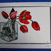 Картины и панно ручной работы. Ярмарка Мастеров - ручная работа Тюльпаны.. Handmade.