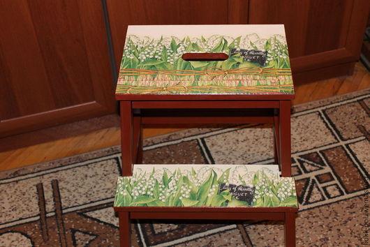 """Мебель ручной работы. Ярмарка Мастеров - ручная работа. Купить Табурет стремянка """"Ландыши"""". Handmade. Мебель, ландыши, табурет стремянка"""