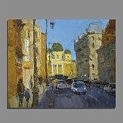 Картины и панно handmade. Livemaster - original item On the Sunny side of the street. Oil painting. Handmade.