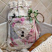 Для дома и интерьера ручной работы. Ярмарка Мастеров - ручная работа Мешочек льняной для хлеба Розовый винтаж (белья,пижамы, подарка). Handmade.