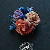 """Брошь-булавка ручной работы. Ярмарка Мастеров - ручная работа Брошь-булавка: """"Розы"""". Handmade."""