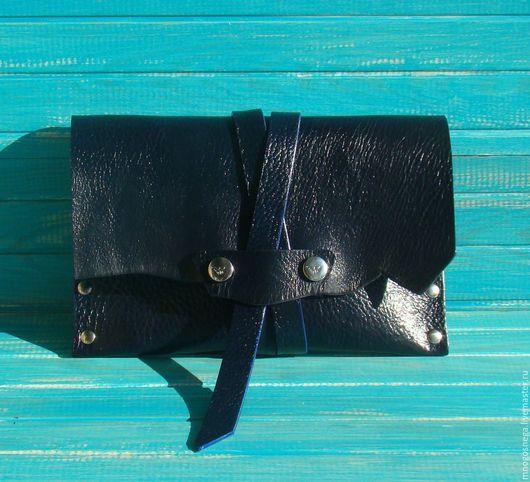 Женские сумки ручной работы. Ярмарка Мастеров - ручная работа. Купить Женская сумка кожаная клатч ИндигоБлю.. Handmade. Однотонный