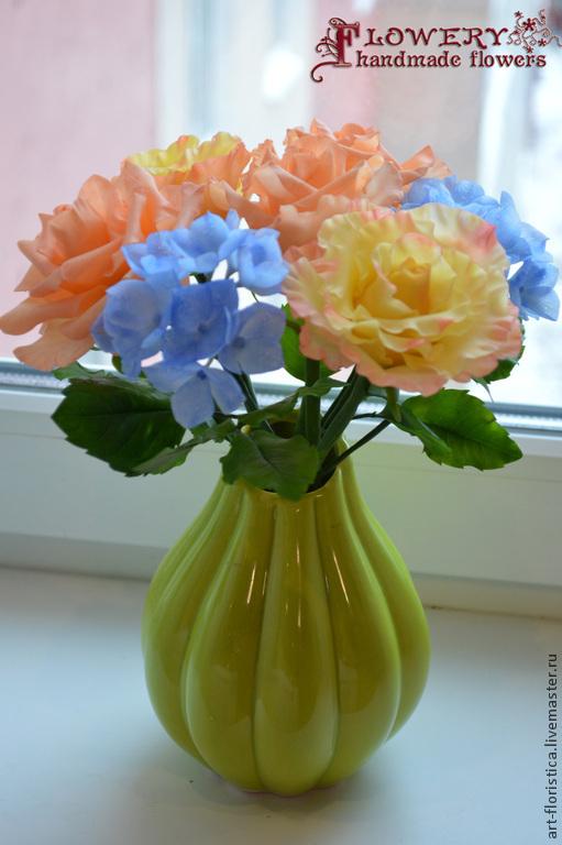 Заколки ручной работы. Ярмарка Мастеров - ручная работа. Купить Букет роз. Handmade. Цветы ручной работы, цветочная композиция