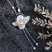 Украшения handmade. Livemaster - original item Pendant with a flying owl barn owl and pearls. Handmade.